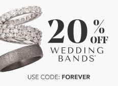 For a limited time, save 20% on men's and women's wedding bands now through October 26th. Use code: FOREVER